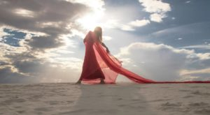 Red dress in white sands new mexico