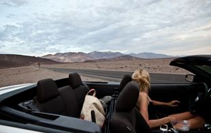 Death valley california in a convertible