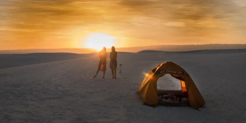 White Sands New Mexico - Sunset - Orange Tent